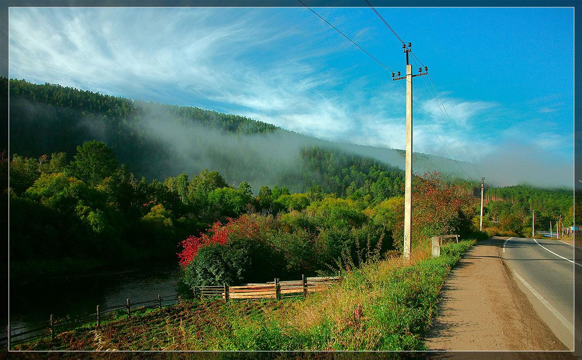 Природа Байкала р. Олха. .  Утро.